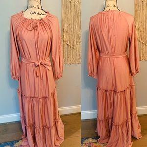 Dusty Rose Tiered Victorian Renaissance Max Dress